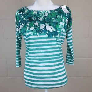 Ann Taylor Loft Green Striped Floral Blouse XS NWT